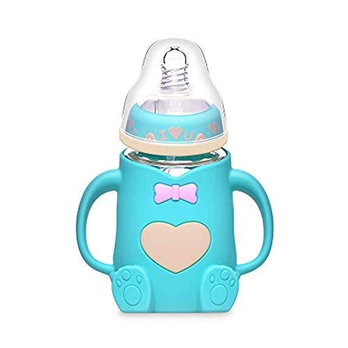 Zeerkeer Babyflaschen Näher an der Natur Glasflasche Anti-Flatulenz Neugeborene Flasche Baby-Anti-Fall-Flasche Mutter- und Babybedarf. (Cyan)