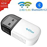 EZCAST Clé WiFi Adaptateur sans Fil USB Bluetooth 4.2 WiFi Dongle Double Bande 2.4G/5.8G AC 600Mbps pour PC Windows XP/7/8/10/Vista,Mac OS, Xbox/PS4/Nintendo Switch Controller...