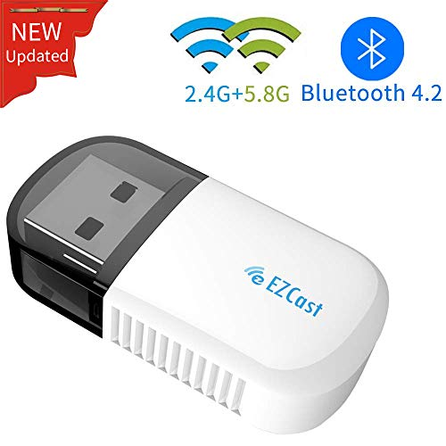 EZCAST WLAN Stick Mini WiFi USB Adapter Dual Band 2.4G/5.8G 600 Mbps Bluetooth 4.2 für PC Support Windows XP / 7/8 / 10 / Vista,Mac OS