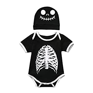 Toamen Disfraz Unisex de HalloweenInfant Baby Boys Girls Halloween Cartoon Skull Print Romper Bodysuit+Hat Outfits 16
