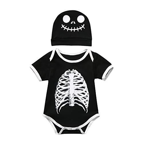 RYTEJFES Kinder Langarm Halloween Kostüm Top Set Baby Kleidung Set Kleinkind Halloween Kleinkind Baby Langen Ärmeln Skull Print Spielanzug Infant Overall