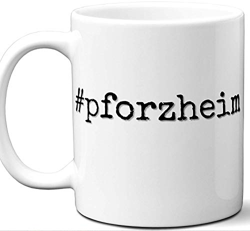 #pforzheim Gift Hashtag Mug. Cool, Hip, Unique Pforzheim, Germany City Hash Tag Themed Tea Cup Men Women Fan Lover Birthday Mothers Day Fathers Day Christmas Coworker.