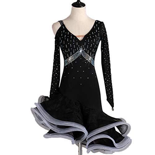 Latin Dance Kleider für Frauen Performance-Rock Tango Cha Cha Kleid Ballsaal-Rock Wettkampfkostüm Lange Ärmel, XL