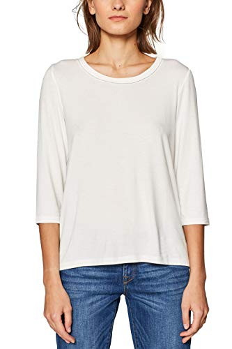 Kurze Full Sleeve Shirt (ESPRIT Damen 029EE1K017 Langarmshirt, Weiß (Off White 110), Large (Herstellergröße: L))