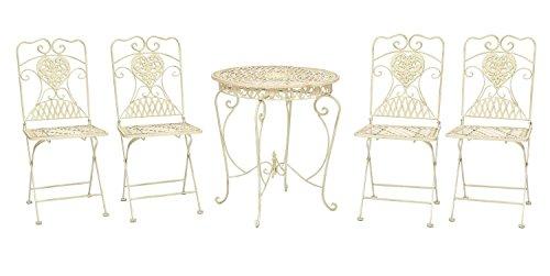 Gartentisch und 4 Stühle Eisen Bistrotisch antik Stil Gartenmöbel creme weiss