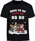 Wake Me up Before You Ho Ho Maglione di Natale Maglietta per Bambini e Ragazzi 7-8 Anni Nero