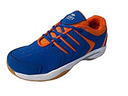 Port Mens Escort Blue Orange Pvc Badminton Shoes(Size 7 UK/Ind)