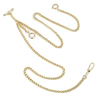 ManChDa Unique Gold Double Albert T-Bar Pocket Watch Chain 16 Inch with 3 Hook for Men Women