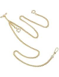 ManChDa® Oro Único Negro Doble Albert T-Bar Cadena de reloj de bolsillo 16 pulgadas con gancho de 3 para los hombres Mujeres