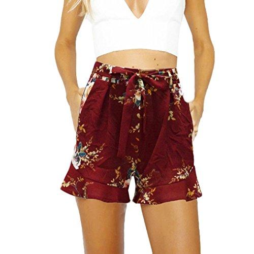 Frauen gefaltete Falbala Ultra-breite Bein Lace-up Hose Shorts Frauen Sexy Rock Sommer Shorts Hosen Rosa