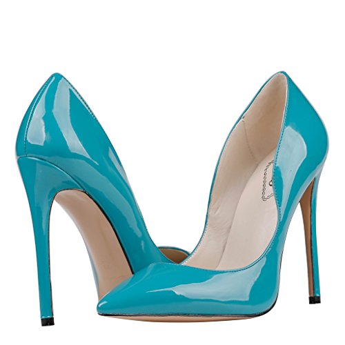 EKS Damen Spitze High Heels Kleid-Partei Pumps Blau-Lackleder hsKgq4i9