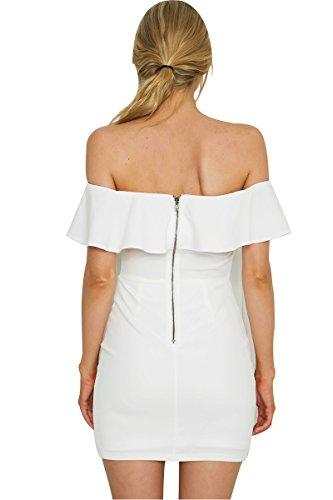 Simplee Apparel Damen Schlauch Kleid Weiß