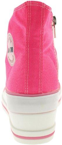 Maxstar 7 trous zippé à chaussures à talon compensé Sneakers Rose - Rose vif