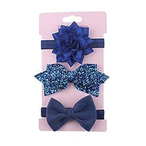 jixinkaiwang Mode 3 Stück Baby Stirnband Blume Schleifen Mädchen Neugeboren Elastisch Baby Haarband Turban