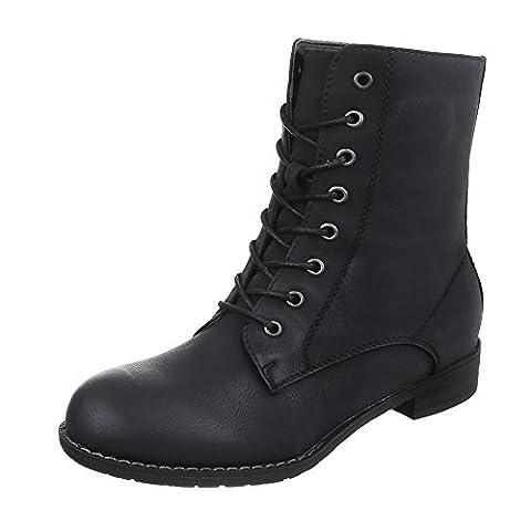Keilstiefeletten Damen-Schuhe Plateau Blockabsatz Schnürer Schnürsenkel Ital-Design Stiefeletten Schwarz, Gr 40,