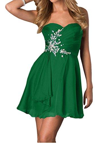 Ivydressing Damen Exquisite Herz-Ausschnitt A-Linie Festkleid Promkleid Ballkleid Abendkleid Grün