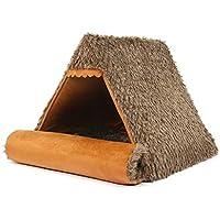 WANGXIAOLIN Nido de mascotas, casa con techo de paja, nido de carpa, 50