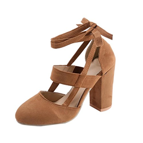 squarex Frauen Party Wildleder Strappy Dick High Heels Sandalen Classic Plus Schuhe Adult 3.5 UK/ Foot Length:23-23.5cm braun (Velcro Schuh Casual Braun)