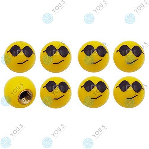 YOU.S Kunststoff Emotion Smileys 'Sonnenbrille' Ventilkappen Gelb mit Dichtung Ventil Kappen Abdeckung für Auto PKW LKW (8 Stück)