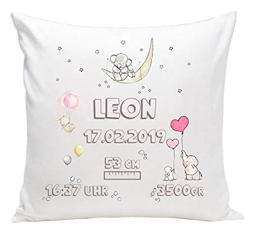 Personalisiertes Kissen mit Namen Baby-Geschenk zur Geburt Taufe für Mädchen Jungen Neugeborene mit Geburtsdaten und Namen & Datum (mit Füllung) Kaninchen [095] -
