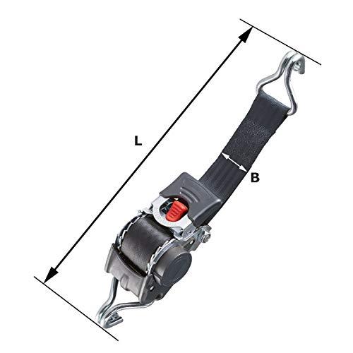 Marwotec Verbindungselemente 2 x Automatik Spanngurt/Automatischer Zurrgurt 3,0m x 50mm 750daN/1500 daN selbstaufrollend mit Spitzhaken