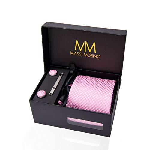 Massi Morino ® Herren Krawatte (Box Set) inkl. Einstecktuch + Manschettenknöpfe + Krawattennadel mit Geschenkbox (Rosa - Kariert)
