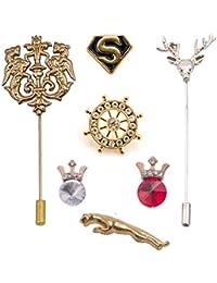 (Pack of 7) Combo of Vibhavari Men's Brooch/Lapel Pin - Limited Offer