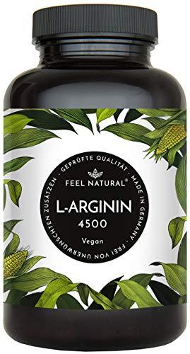 L-Arginin - 365 vegane Kapseln mit 4500mg pflanzlichem L Arginin HCL aus Fermentation (davon 3750mg reines L-Arginin) je Tagesdosis - Ohne Zusätze, hochdosiert, vegan, hergestellt in Deutschland