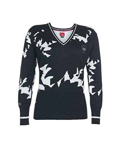 Xfore Damen Golf Feinstrick Pullover Sunderland mit Muster und V-Ausschnitt, in Blau, Gr XXL