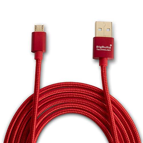 BigBuild Technology Rot 2 Meter schnelleres Lade-und Datenübertragungskabel für Samsung Galaxy Tab S SM T700, S2 SM T710, S2 SM T715, S2 SM T813, J Max, SM T580 Tablet, 6 Fuß 5 Zoll Gold plattiert Kabel-screen Protector Usb