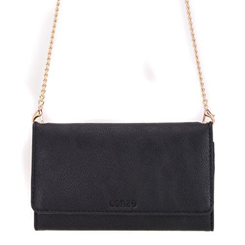 conze Fashion Téléphone portable petit sac de transport avec sangle croix corps compatible avec HTC One M9/A9/Dual SIM Black + Flower noir