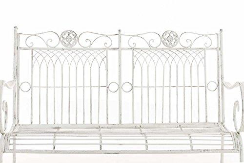 CLP Metall Gartenbank PURUSHA, 2-Sitzer, Landhaus-Stil, Eisen lackiert, Design nostalgisch Antik Weiß - 4