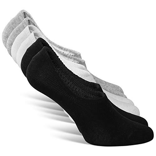 Classics Herren & Damen Unsichtbare Sneaker Socken (6x Paar) Großes Silikonpad Rutschfeste Baumwollsocken, Kurze Atmungsaktive Sportsocken 6P, No Show Invisible Socks