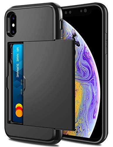 Coolden iPhone XS Max Hülle, Premium Handyhülle mit Kartenfach Silikon TPU + PC Cover Doppelschichter Schutz Ultra Dünn Brieftasche Slim Wallet Case Hülle für Apple iPhone XS Max 6.5