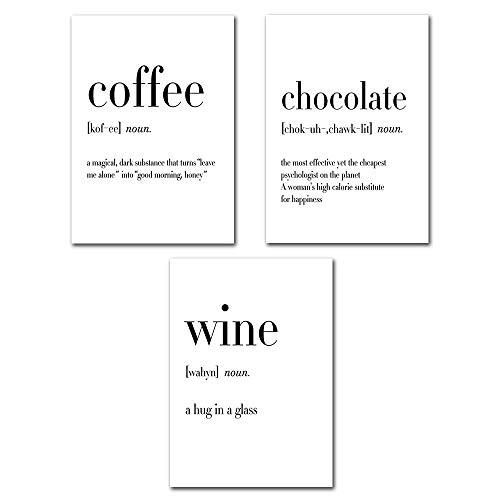 DSY Poster für Zitat, moderner Text, Motiv Vogue, Café au Chocolat, der Wein des Slogans   Nordischer Stil, Plakat, Wanddekoration, Schwarz und Weiß (ohne Rahmen), Leinen, 40x50cm (Sans Cadre)