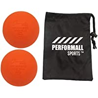Champion Sports Lacrosse Ball (2-Pack) Massage Ball Bundled with 1 Performall Sports Bag