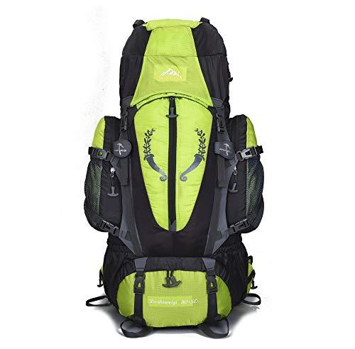 Bergsteigerrucksack Outdoor Bergsteigen Rucksack 80L Unisex Trekking Bag - Regenfester Sportrucksack Wandern Tagesrucksack Geeignet für Winter Mountain Skiing für Männer Frauen (Green Mountain-kamera)