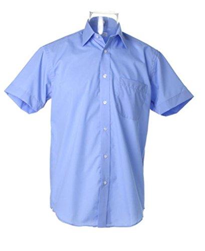Kustom Kit Herren Doppelt gefaltete Nähte Versiegelter Kragen Business Short Sleeve Shirt Hellblau