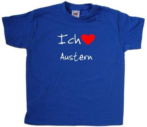 Ich Liebe Austern Kinder - T - Shirt, Blau (Weiß und Rot