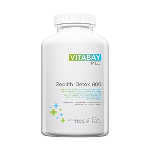 Zeolith Detox 800 - Medizinprodukt 95% Klinoptilolith zur Entgiftung 240 Kapseln -