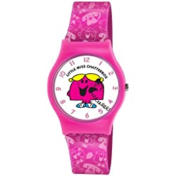 Mr Men and Little Miss Girl's Quartz Watch with White Dial Analogue Display and Pink PU Strap LM0003