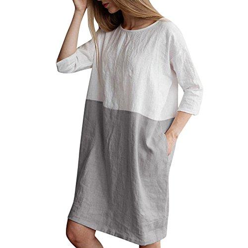 BHYDRY Frauen Casual Patchwork 1/2 Ärmeln Baumwolle Leinen lose Taschen Tunika-Kleid(XX-Large,Grau)