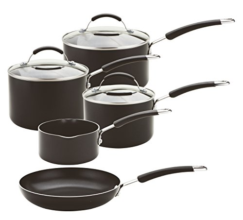 Meyer Aluminium Induction Compatible Cookware set, Black, 5-Piece