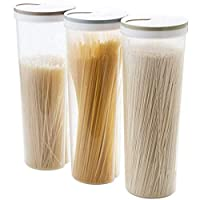 JVSISM 3 pcs Tall Food Storage Cylinder Shaped Spaghetti Noodle Container Box for Grain Cereal Oatmeal Nuts Beans