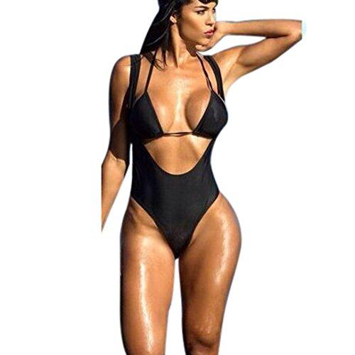 ubabamama Frauen Halfter Rüschen Bademode Badeanzug Monokini Push Up Gepolsterte One Piece Bikini Badeanzug für Damen (Mesh-rüschen Halfter)