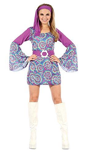 9Groovy Psychedelischen Hippie-Lady Kleid, Mehrfarbig, Größe 10–14 (70er-jahre-outfits Ideen)