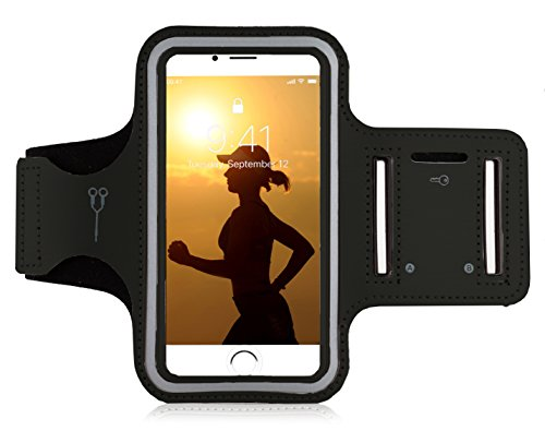"MyGadget Sportarmband Hülle - Jogging Case Armband für 6.0"" Display Fitness Sport Armtasche für u.a. Apple iPhone X 8 Plus 7+ 6+, Galaxy S9 S8 - Schwarz"