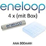 Eneloop Lot de 4Micro piles AAA 800mAh (750min.) NiMH avec boîte