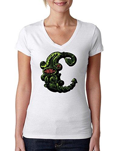 Decorative letter C logo dammen V-neck baumwolle t-shirt Weiß