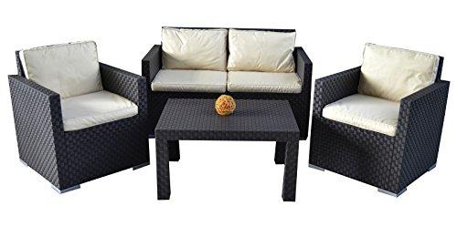 floristikvergleich.de 4tlg. Rattan Lounge Sitzgruppe Havana Garnitur Gartenmöbel Essgruppe Garten Set